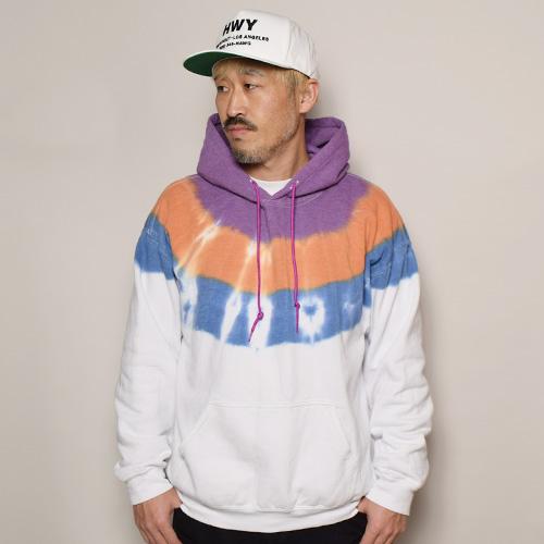 Thrifty Look/3Tone Tye Dye Pullover Hoodie(スリフティルック タイダイスウェットパーカー)ホワイト×パープル×オレンジ×ブルー [a-3574]