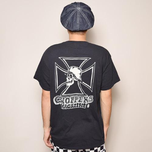 Choppers Magazine/Chopper Skull S/S Pocket T-Shirt(チョッパーズマガジン ポケットTシャツ)ブラック [a-3323]