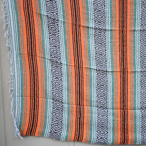 Mexican Rag Blanket(メキシカンラグブランケット)オレンジ×グリーン×ブラック [a-4148]