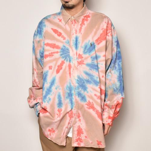 ・Polo Ralph Lauren/Tie Dyed L/S Loose Shirt(ラルフローレン タイダイシャツ)ピンク×レッド×ブルー/サイズXL [z-4490]