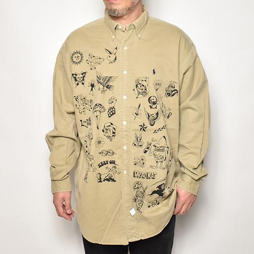 ・GRIMB Krazy Paint×Us Tattoo Flash L/S Cotton Twill B.D. Shirt(グリム×アス コットンシャツ)ベージュ/サイズL [z-5220]