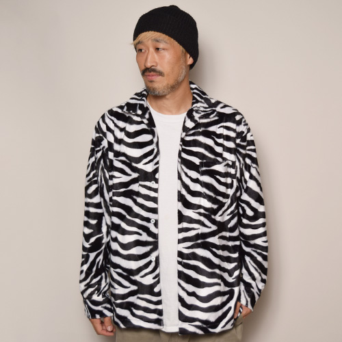 Fake Fur Zebra Shirt(フェイクファーゼブラシャツ)ホワイト×ブラック [a-3368]