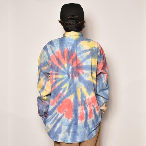 ・Polo Ralph Lauren/Tie Dyed L/S Loose Shirt(ラルフローレン タイダイシャツ)レッド×ブルー×イエロー/サイズXL [z-4495]