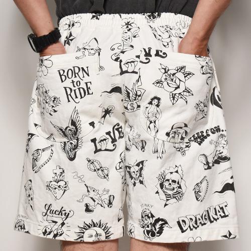 GRIMB Tattoo Flash Easy Short Pants(グリムイージーショートパンツ)ホワイト [a-4966]
