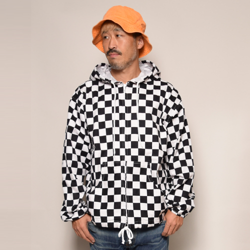 Checkerboard Zip-Up Easy Hoodie(チェッカーボードイージーパーカー)ホワイト×ブラック [a-3283]
