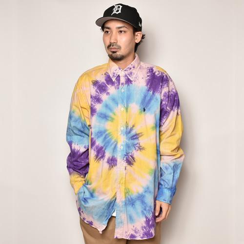 ・Polo Ralph Lauren/Tie Dyed L/S Loose Shirt(ラルフローレン タイダイシャツ)パープル×ライトブルー×イエロー/サイズL [z-4496]