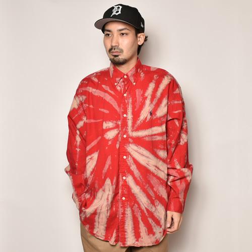 ・Polo Ralph Lauren/Tie Dyed L/S Loose Shirt(ラルフローレン タイダイシャツ)レッド×ピンク×ベージュ/サイズL [z-4497]