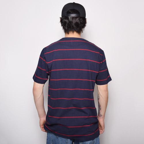 Vans/Enright Pocket T-Shirts(バンズ ボーダーポケットTシャツ)ネイビー×レッド [a-1722]