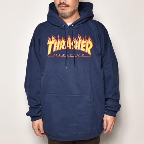 Thrasher Magazine/Flame Logo Hoodie(スラッシャーマガジン パーカー)ネイビー  [a-4537]