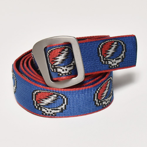 Bison Designs×Grateful Dead/Steal Your Face Web Belt(バイソン×グレイトフルデッド ベルト)ブルー×レッド [a-4816]