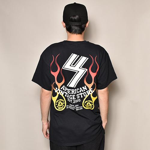 US×Sams Motorcycle/20th Anniv. Flames S/S T-Shirt(アス×サムズモーターサイクル Tシャツ)ブラック [a-3706]