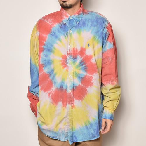 ・Polo Ralph Lauren/Tie Dyed L/S Loose Shirt(ラルフローレン タイダイシャツ)イエロー×レッド×ブルー/サイズL [z-4500]