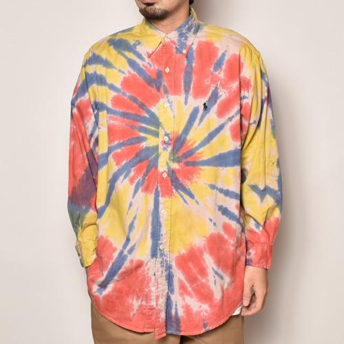 ・Polo Ralph Lauren/Tie Dyed L/S Loose Shirt(ラルフローレン タイダイシャツ)レッド×イエロー×ネイビー/サイズM [z-4501]