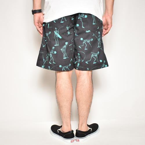 Multi Sporting Skull Easy Short Pants(スポーティングスカルイージーショートパンツ)ブラック×エメラルドグリーン [a-4973]