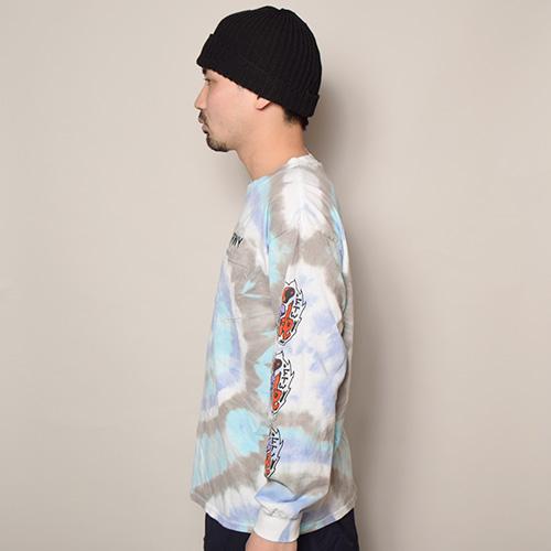 HWY×US/Tie Dye Multi Flames L/S Pocket T-Shirt (エイチダブリューワイ×アス タイダイTシャツ)パープル×ブルー×グレー(R) [a-3636]