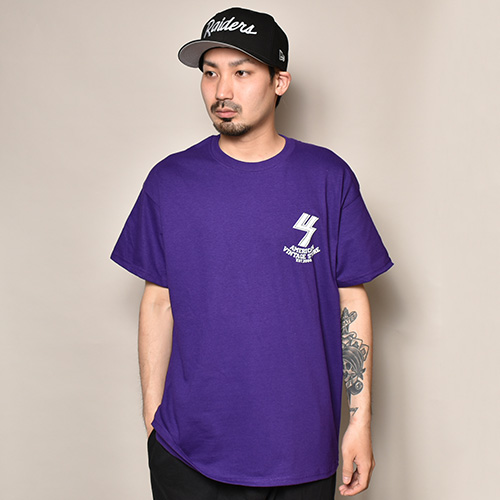 US×Sams Motorcycle/20th Anniv. Flames S/S T-Shirt(アス×サムズモーターサイクル Tシャツ)パープル [a-3708]