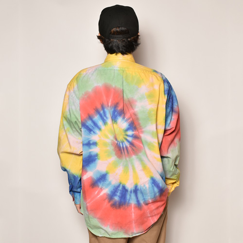 ・Polo Ralph Lauren/Tie Dyed L/S Loose Shirt(ラルフローレン タイダイシャツ)ライトグリーン×レッド×ブルー/サイズL [z-4502]