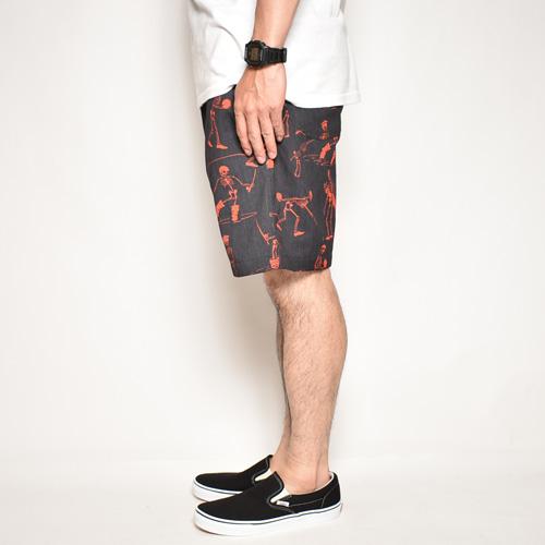 Multi Sporting Skull Easy Short Pants(スポーティングスカルイージーショートパンツ)ブラック×レッド [a-4974]