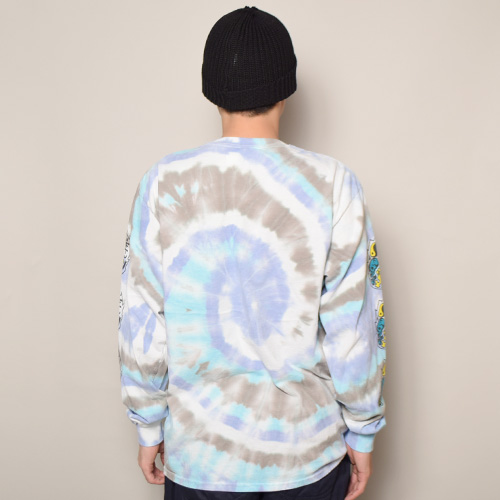 HWY×US/Tie Dye Multi Flames L/S Pocket T-Shirt (エイチダブリューワイ×アス タイダイTシャツ)パープル×ブルー×グレー(Y) [a-3637]