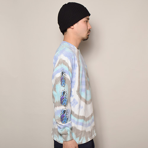 HWY×US/Tie Dye Multi Flames L/S Pocket T-Shirt (エイチダブリューワイ×アス タイダイTシャツ)パープル×ブルー×グレー(B) [a-3638]