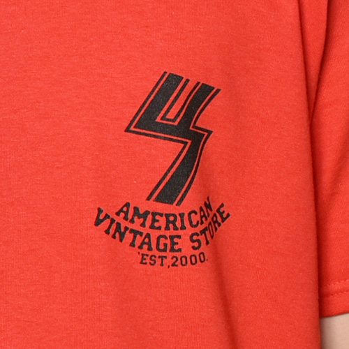 US×Sams Motorcycle/20th Anniv. Flames S/S T-Shirt(アス×サムズモーターサイクル Tシャツ)レッド [a-3710]