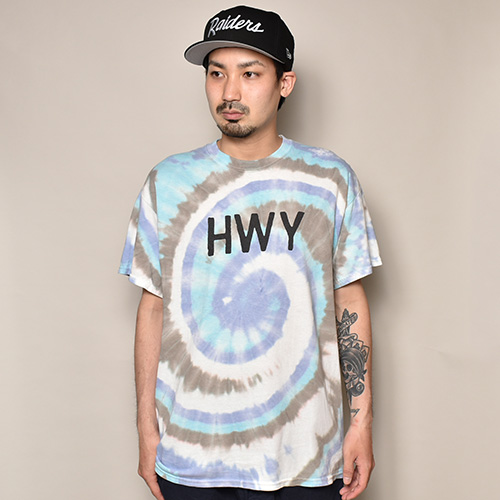 HWY×US/Tie Dye S/S Army T-Shirt (エイチダブリューワイ×アス タイダイTシャツ)パープル×ブルー×グレー [a-3736]