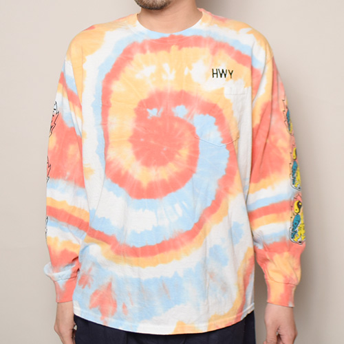 HWY×US/Tie Dye Multi Flames L/S Pocket T-Shirt (エイチダブリューワイ×アス タイダイTシャツ)レッド×オレンジ×ブルー(Y) [a-3640]