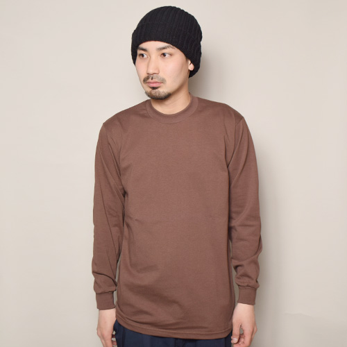 Pro Club/L/S Heavy Weight Solid T-Shirt(プロクラブ Tシャツ)ブラウン [a-3609]