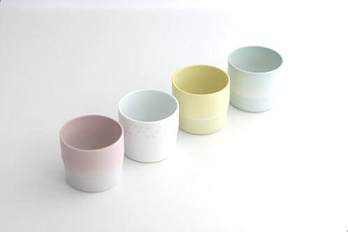 S&B Espresso Cup white/light pink dots