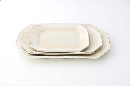 Tテツサン47 鉄散八角ケーキ皿 [白]