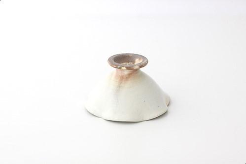 Rコハチ028 粉引輪花高台鉢ミニ[白]