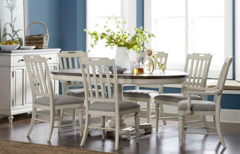 円形・楕円形 ダイニングテーブルセット 6人掛け 8人掛け も可 フレンチ カントリー シャビーシック 高級 伸縮 アンティーク アンティーク調 グレー 白 ホワイト 4人 6人 8人 Brookhaven Legacy