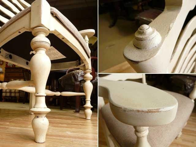 ダイニングチェア 椅子 チェア 白 ホワイト アイボリー フレンチ カントリー アンティーク アンティーク調 高級 シャビーシック クラシック テイスト おしゃれ かわいい 木製 布張り 食卓用 カフェ ダイニング チェアー ダイニングセット PaulaDeen996 UNIVERSAL