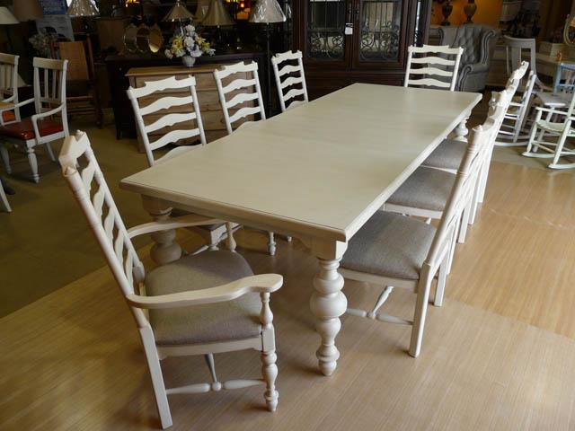 ダイニングテーブルセット 6人掛け 8人掛け も可 伸縮 白 ホワイト アンティーク アンティーク調 クラシカル 高級 ダイニングテーブル 7点セット フレンチ カントリー シャビーシック 伸長式 おしゃれ ダイニングセット 大人数 4人 6人 8人 Paula Deen 996 UNIVERSAL