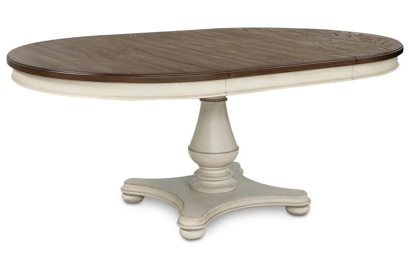 ダイニングテーブル 丸 円形 楕円 4人掛け 6人掛け 白 ホワイト グレー ツートン 伸縮 フレンチ カントリー シャビーシック 高級 アンティーク アンティーク調 クラシック テイスト ダイニング テーブル 4人 6人 8人 伸長式 Brookhaven Legacy 6400-521
