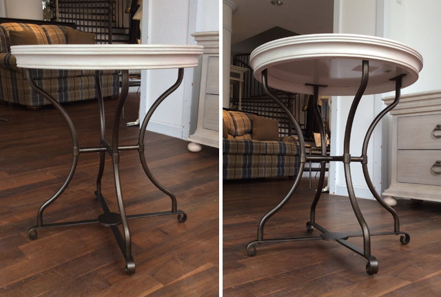 サイドテーブル グレー 白 ホワイト 高級 フレンチ カントリー モダン ランプテーブル 丸 丸テーブル 円型 丸型 シャビーシック アンティーク アンティーク調 高級 テーブル おしゃれ 可愛い クラシック テイスト ELAN UNIVERSAL