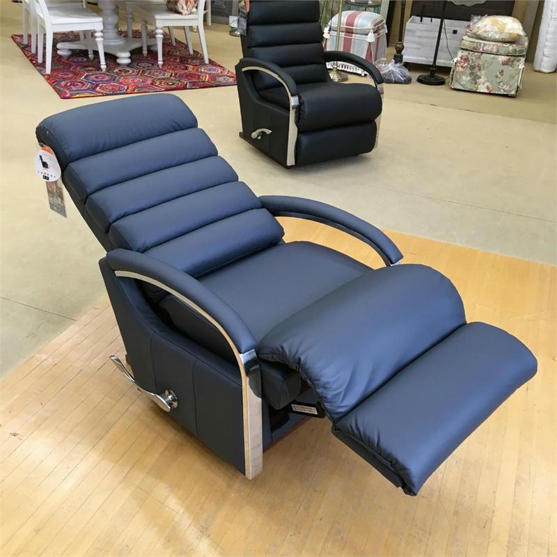 リクライニングチェア リクライニングソファ 一人用 ソファ 紺 ネイビー オットマン一体型 ソファー 一人掛け 1人 リラックスチェア 手動 高級 おしゃれ アメリカン レイジーボーイ LA-Z-BOY 10T-520 Norman Madras PACIFIC