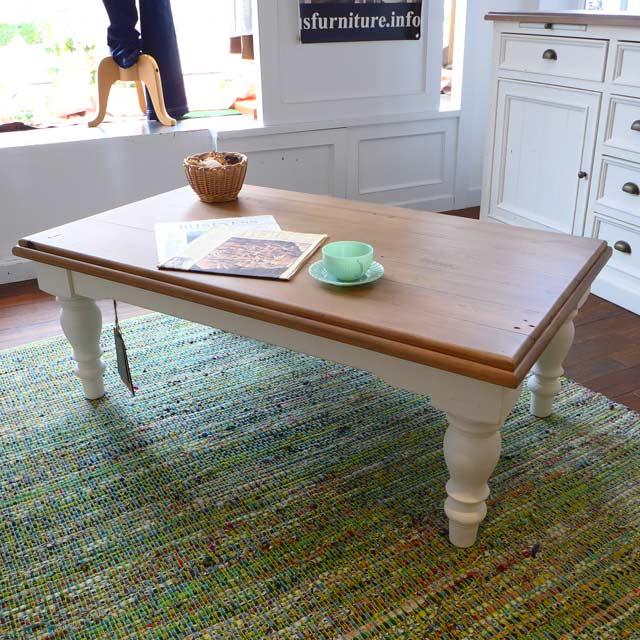 ローテーブル テーブル センターテーブル パイン ナチュラル ツートン フレンチ カントリー アンティーク アンティーク調 おしゃれ かわいい 大人可愛い アメリカンカントリー コーヒーテーブル ドリフトナチュラル&ホワイト CA005 Plantation