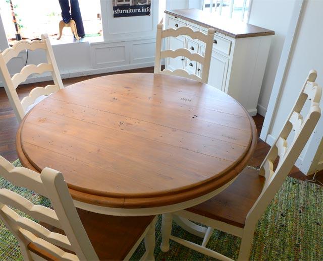 ダイニングテーブルセット 4人掛け 5点 セット 丸 丸テーブル パイン パイン材 フレンチ カントリー アウトレット アンティーク ダイニング テーブル ダイニングセット 4人 2人 おしゃれ 可愛い  ドリフトナチュラル&ホワイト CD013 Plantation