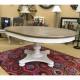 【訳あり】円形 楕円形 ダイニングテーブルセット 4人用 5点セット 伸長式 シャビーシック 高級 アメリカ アンティーク 白 ホワイト Farmdale Legacy 9770-521