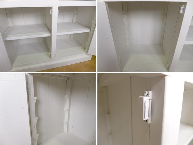 食器棚 キッチン収納 フレンチ カントリー カップボード シャビーシック おしゃれ 大人可愛い キャビネット キッチンボード 収納 完成品 シャビー アンティーク アンティーク調 パイン 天然木 無垢材  CD021 アッシュ&ホワイトカラー