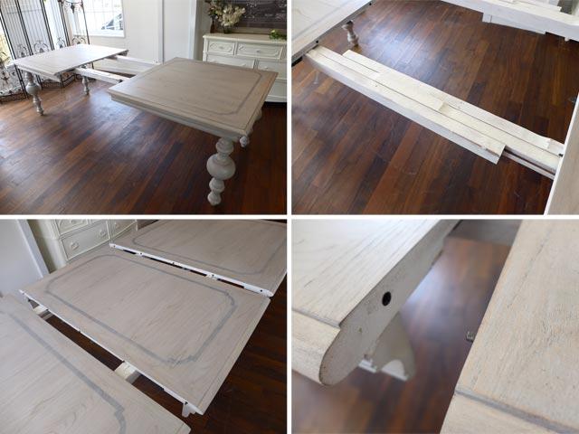 【展示品アウトレット】 ダイニングテーブルセット 6人掛け グレー 白 ホワイト 猫脚 シャビーシック フレンチ カントリー 伸縮 伸長式 高級 7点セット アンティーク アンティーク調 クラシック テイスト ダイニングセット ELAN UNIVERSAL