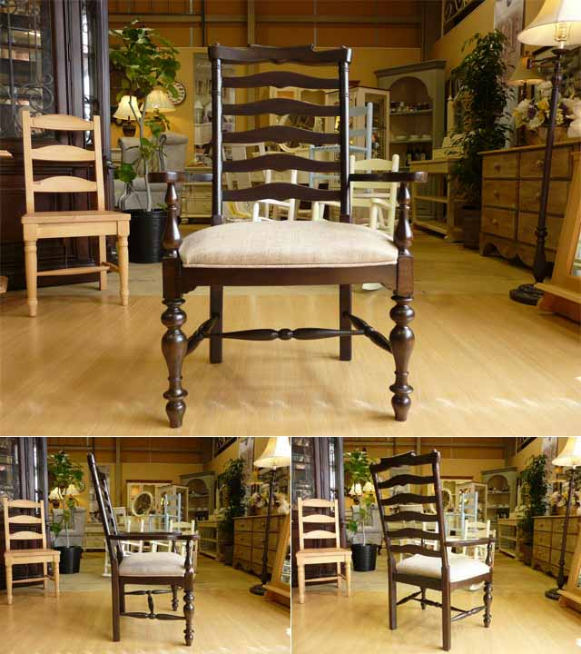 ダイニングチェア 肘付き チェア 椅子 ダーク ブラウン 濃茶 茶 高級 フレンチ カントリー シャビーシック アンティーク アンティーク調 木製 おしゃれ ダイニング いす 布 布地 カフェ ダイニングテーブル ダイニングセット にも アームチェア PaulaDeen 996 UNIVERSAL