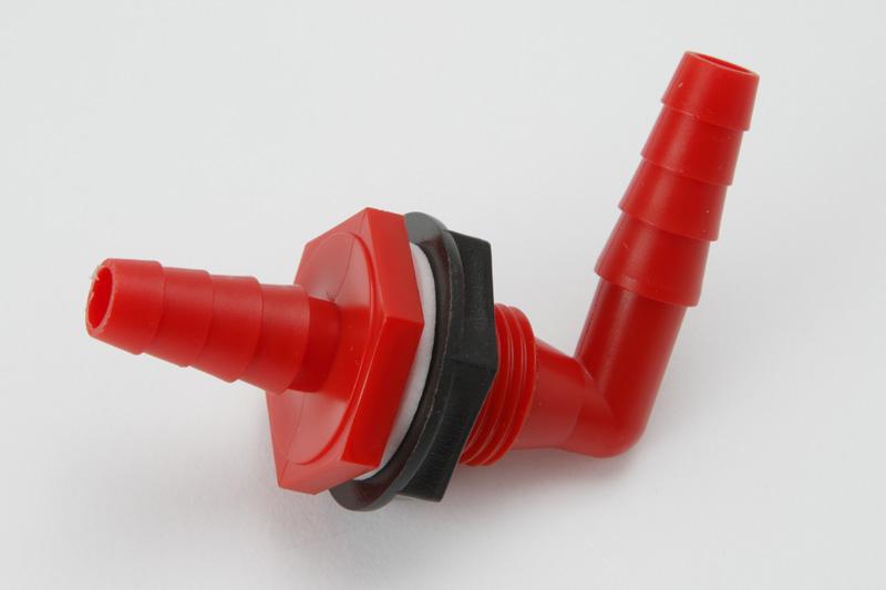 【#65028】タンク給水取出口 L型*ストレート10ミリ 赤