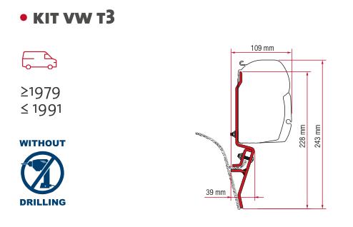 【#021001】フィアマ オーニングブラケット  VW-T3  2P
