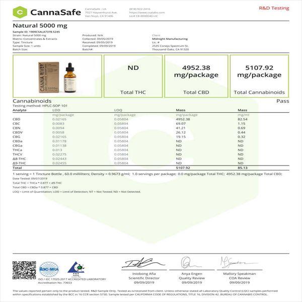CANNARIVE CBDティンクチャーオイル ブロードスペクトラムCBD5000mg 60ml