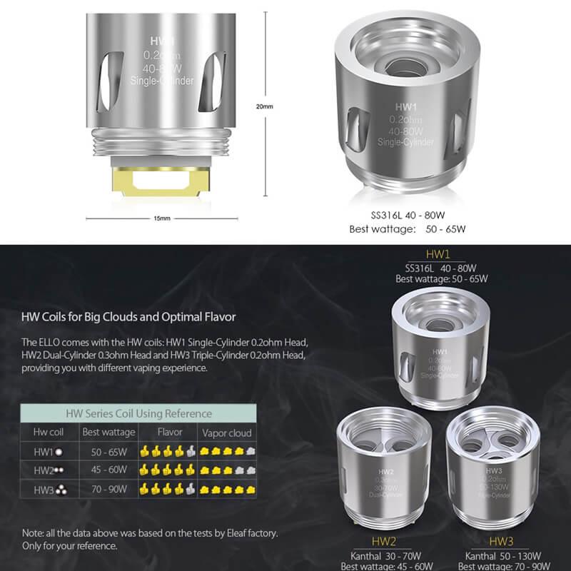 ELEAF ELLO Atomizer 交換用コイル HW1/HW2/HW3/HW4