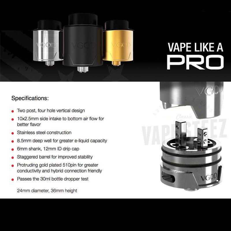 正規品 VGOD PRODRIP RDA 24mm ドリッパー 爆煙 VAPEトリック スモークトリック 上級者向け