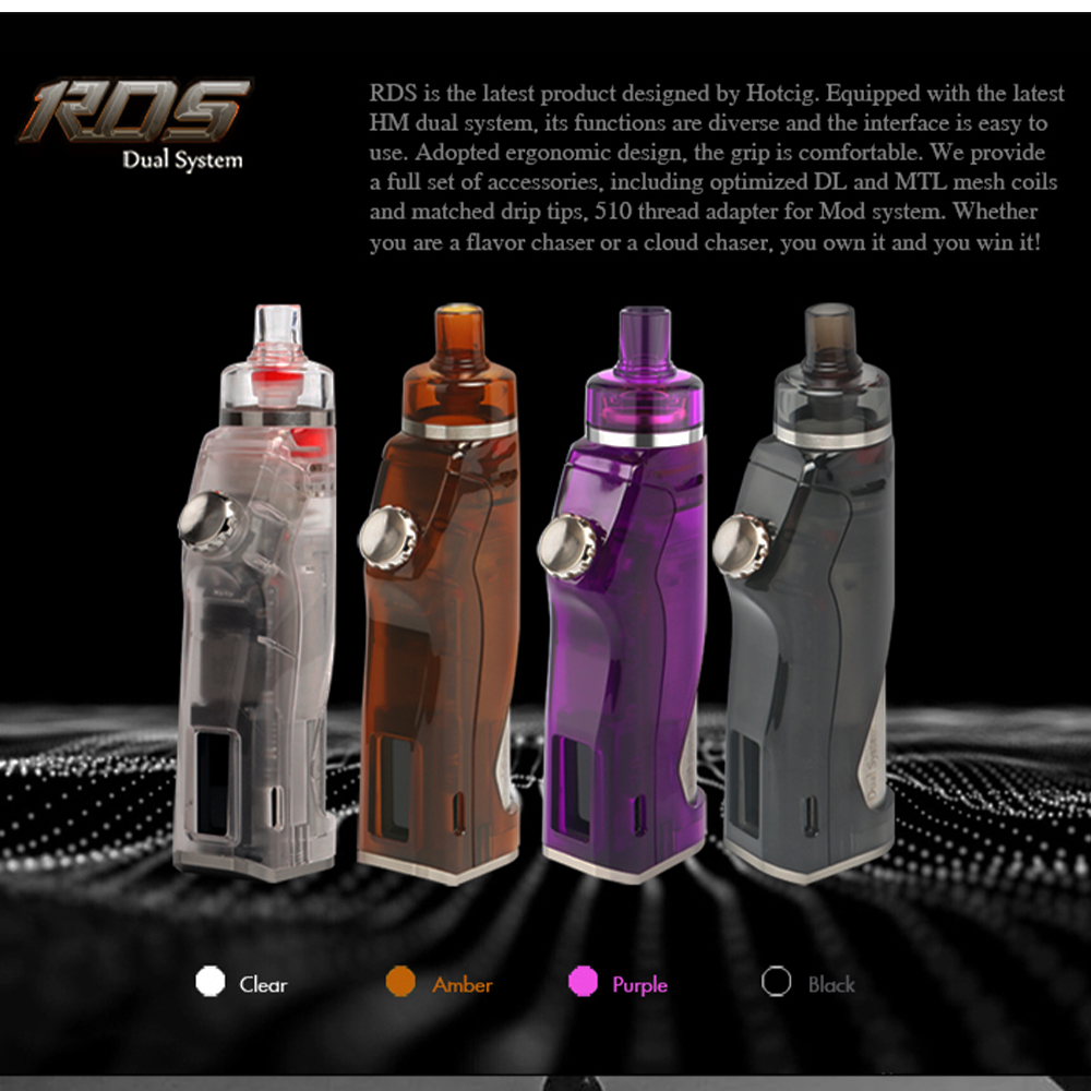 (送料無料)  Hotcig RDS 80W TC Pod MOD 爆煙もMTLもこれ一つで完結。デュアルシステム スターターキット  (ホットシグ アールディーエス ティーシー ポッドスターターキット) 電子タバコ VAPE