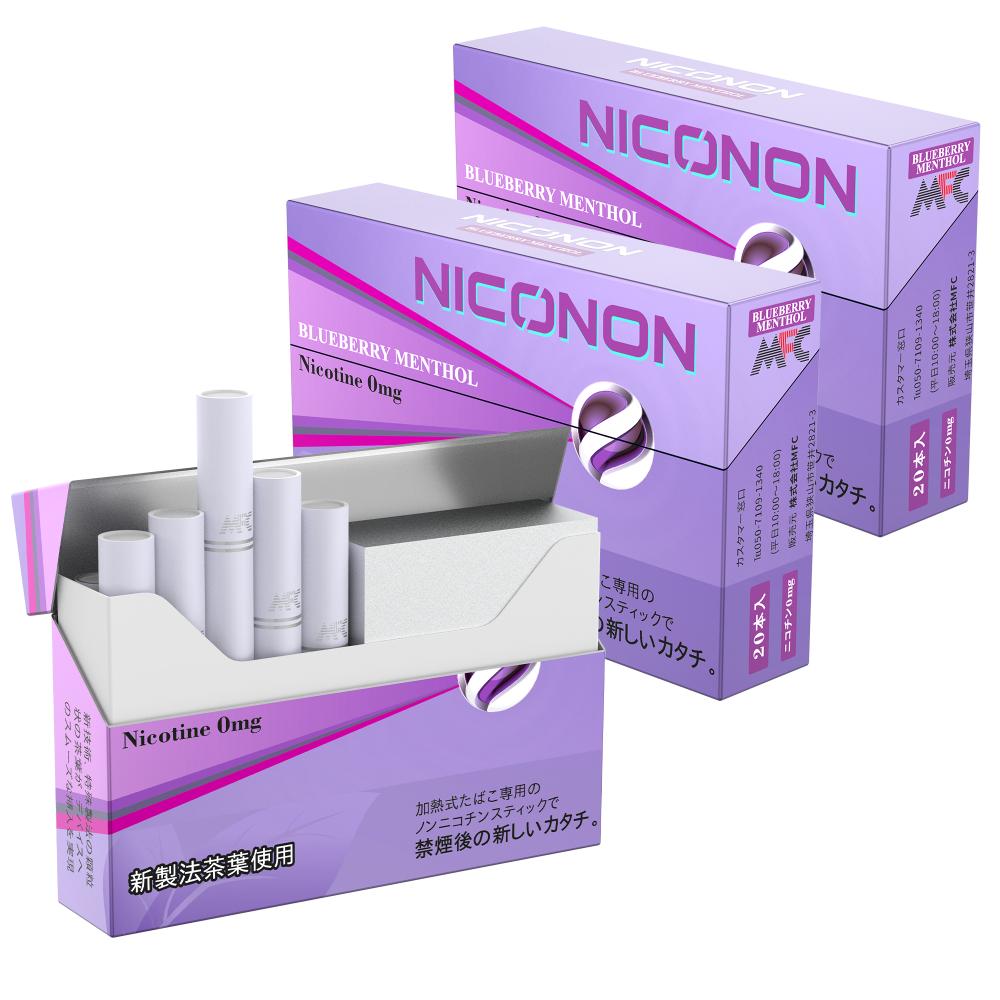 【ブルーベリーメンソール 1カートン(10箱入り)】 NICONON ニコノン 禁煙後の新しいカタチ。アイコス互換機 次世代ニコチン0mg加熱式スティック